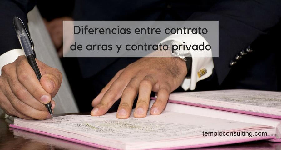 diferencias entre contrato de arras y contrato privado