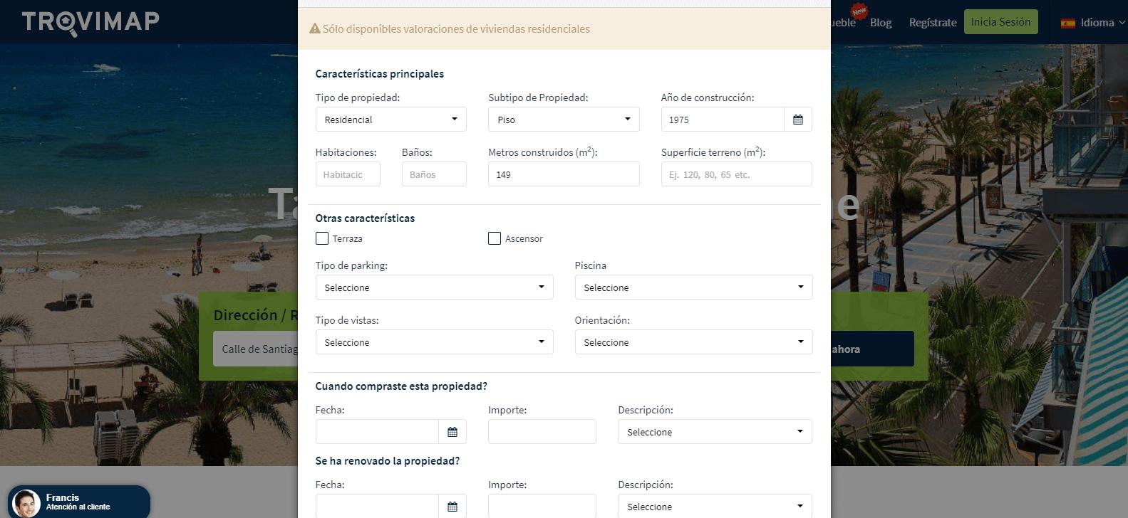 trovimap herramienta de valoracion gratuita