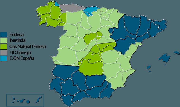 mapa distribuidoras eléctricas en España