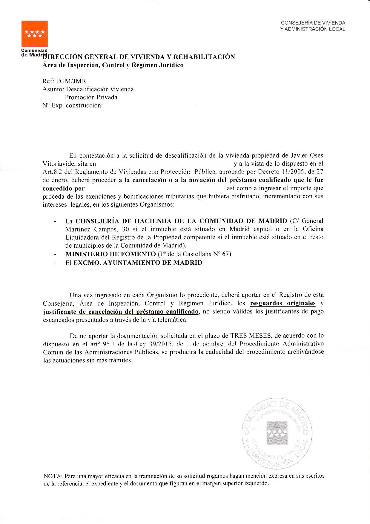 Modelo de respuesta del IVIMA tras una solicitud de descalificación