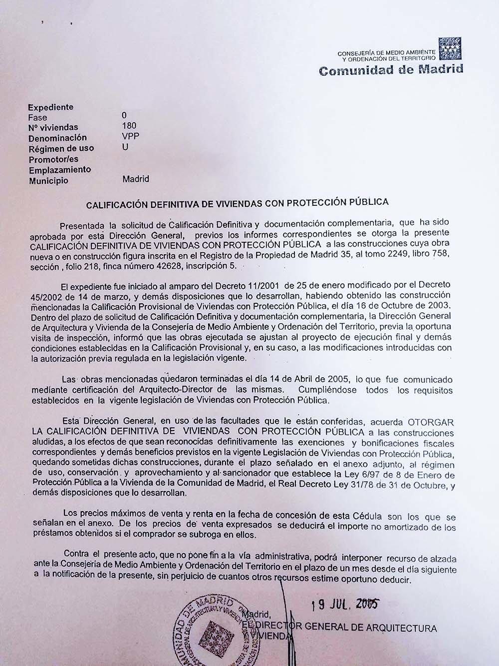 Ejemplo de calificación definitiva en la Comunidad de Madrid