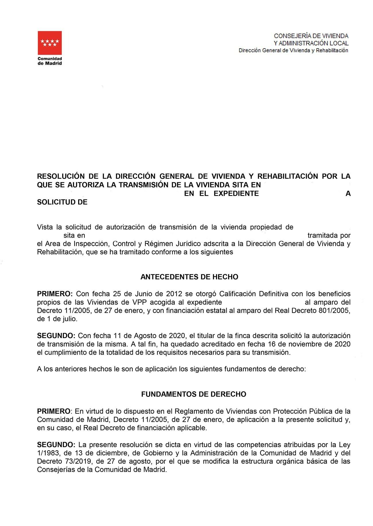 Contestación autorización de venta VPO 801/2005