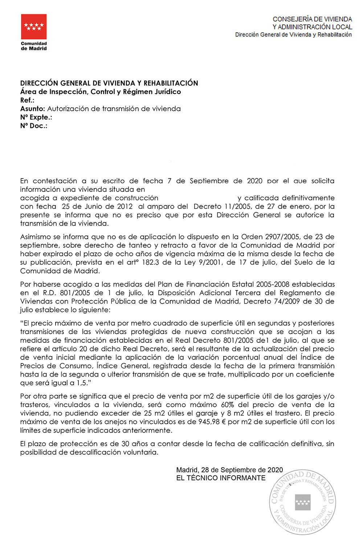 Carta respuesta a un informe de venta VPO 801/2005