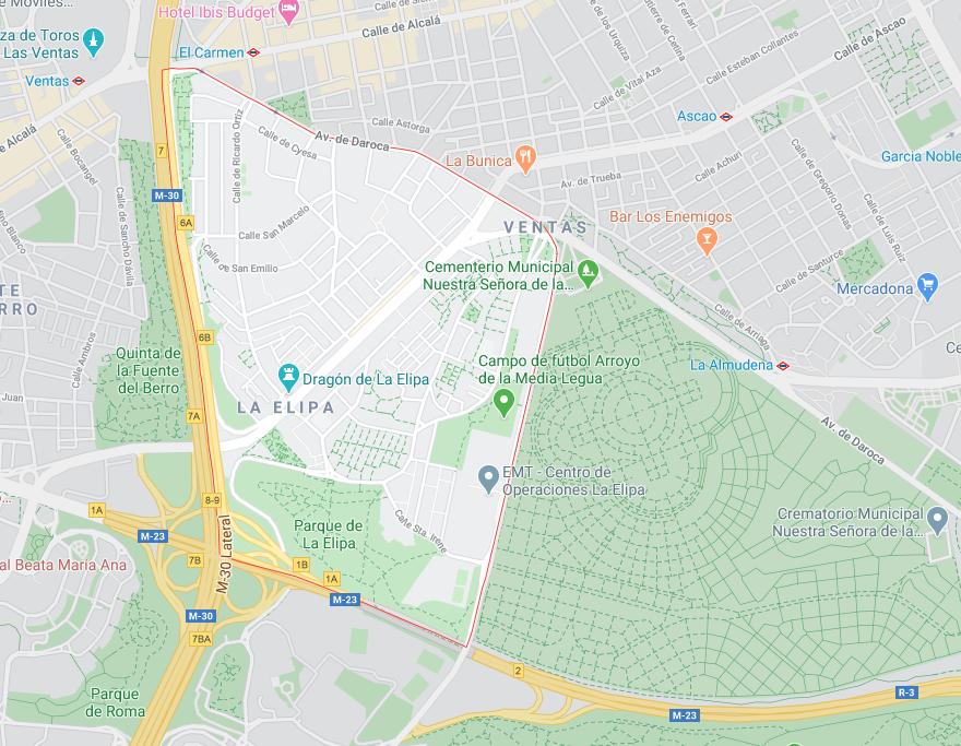 Límites del barrio de la Elipa, Ventas (Madrid)