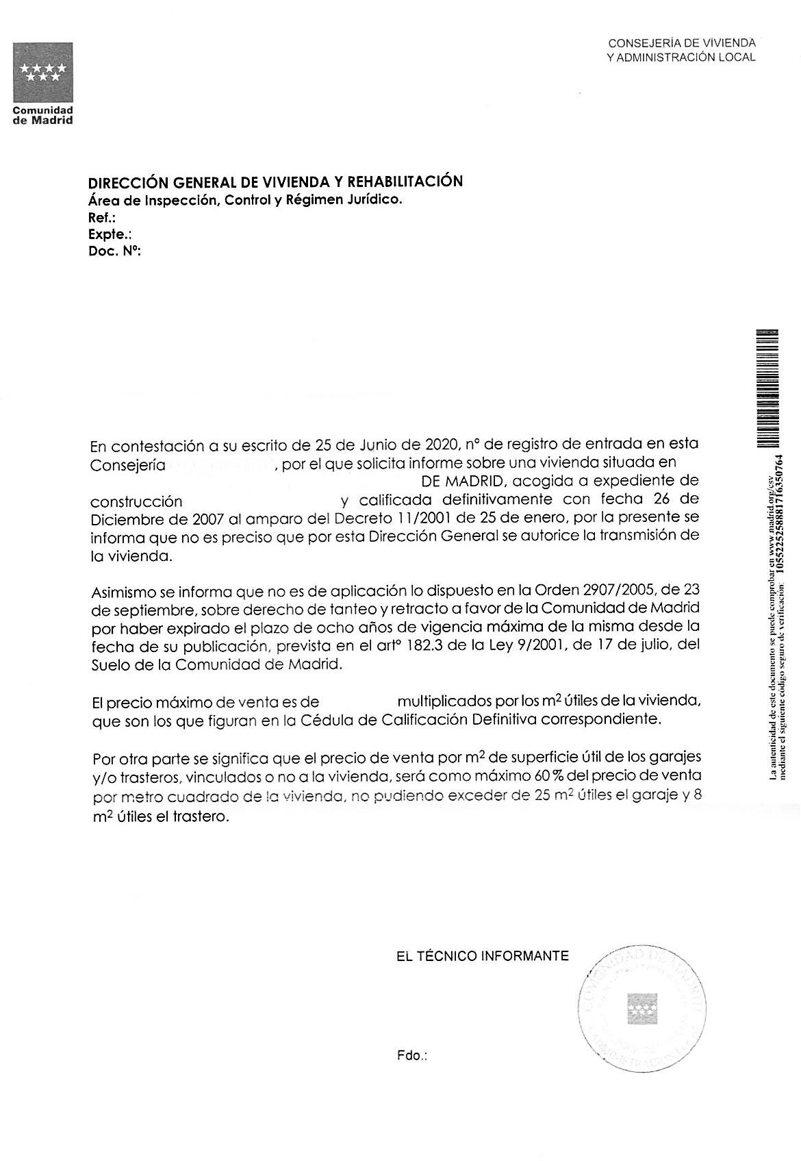 Informe de Venta Consejería Vivienda Madrid