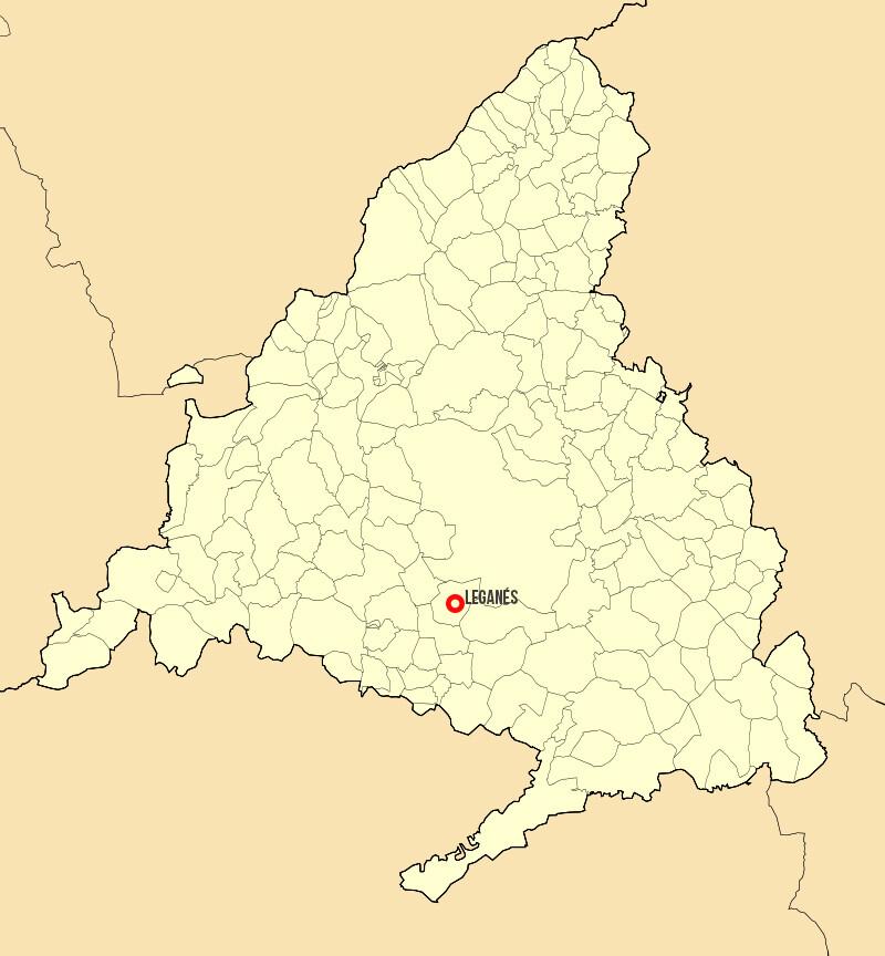 Localización del municipio de Leganés en la Comunidad de Madrid