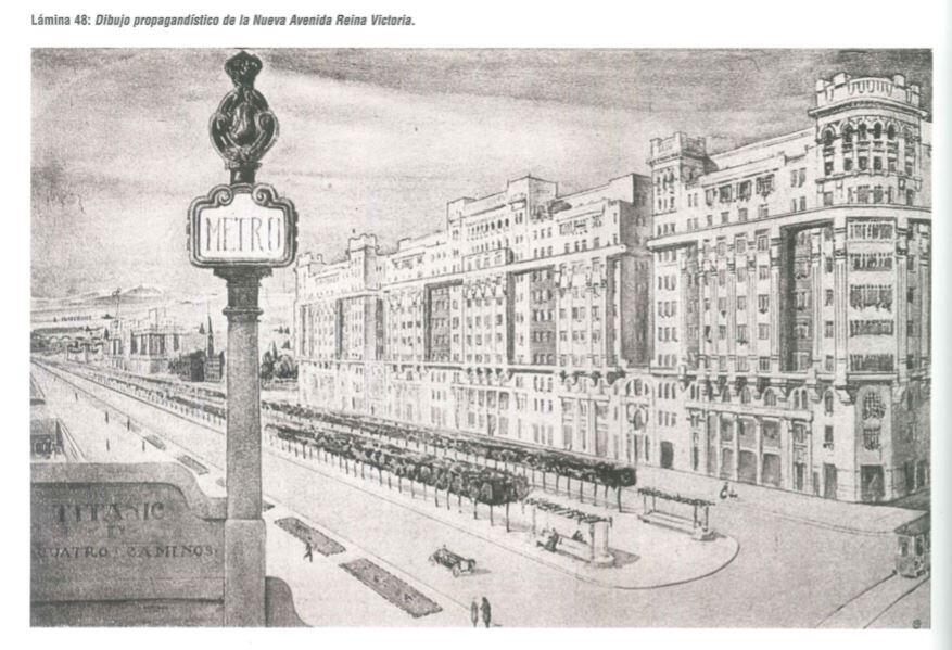 Cartel propagandístico de los Edificios Titanic y la nueva Avenida de la Reina Victoria
