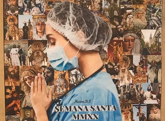 Una mujer con mascarilla y redecilla en el pelo, símbolo del personal sanitario, protagoniza el cartel de la Semana Santa de Sevilla.
