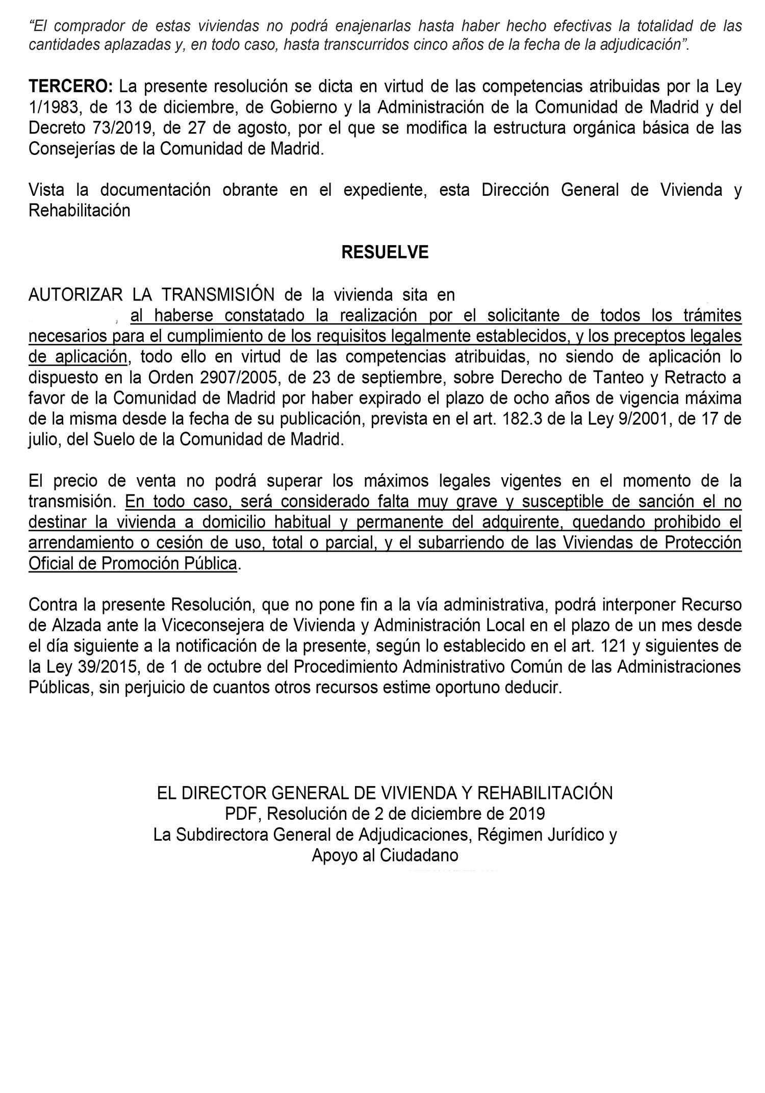 Autorización de venta para una VPO de Promoción Pública en Madrid