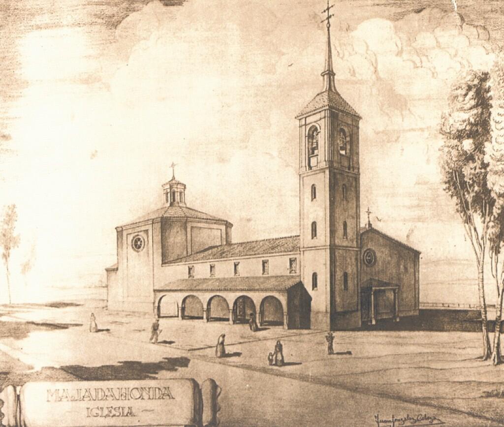 Grabado de la Iglesia de Santa Catalina en Majadahonda