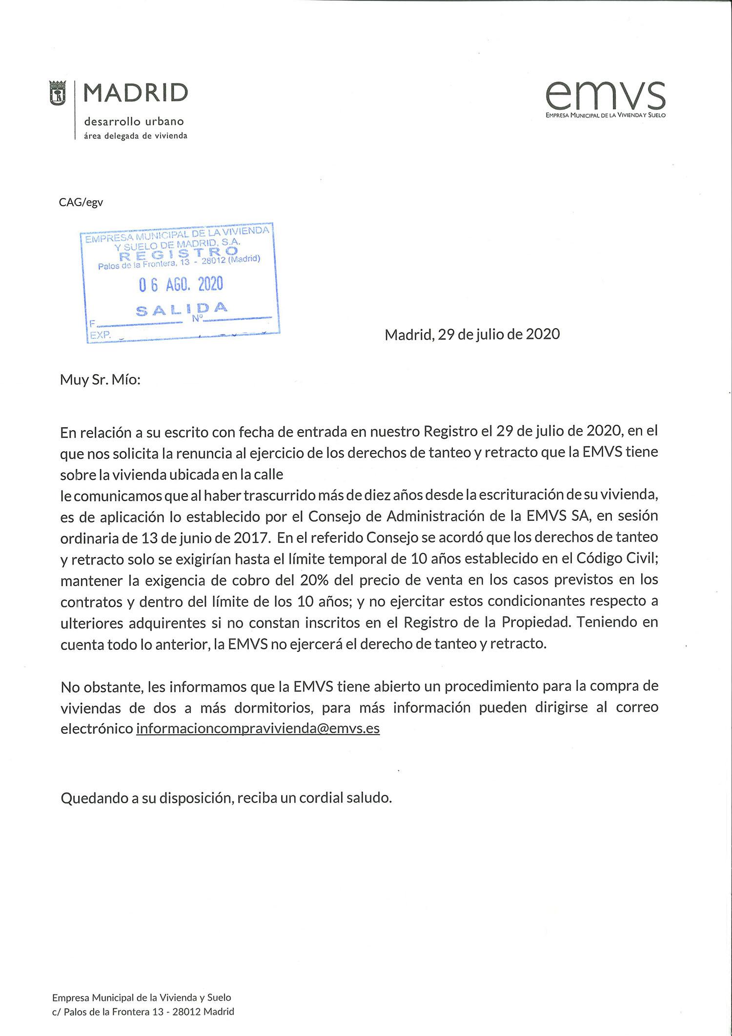 Contestación de la EMVS de no aplicar la cláusula del 20%